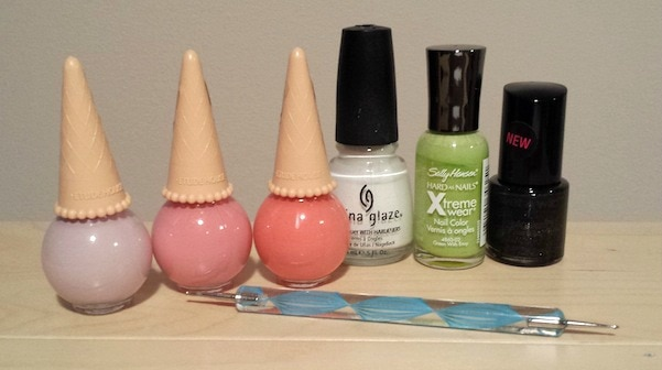Watermelon nail art polishes