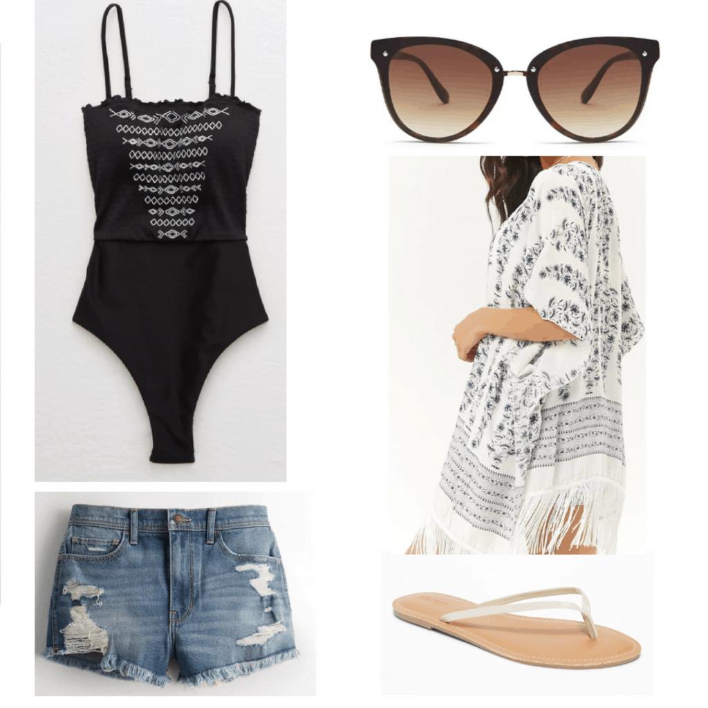 black one piece, sunglasses, white kimono, white flip flops, ripped blue denim shorts