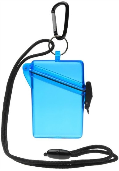 Blue waterproof card holder with lanyard