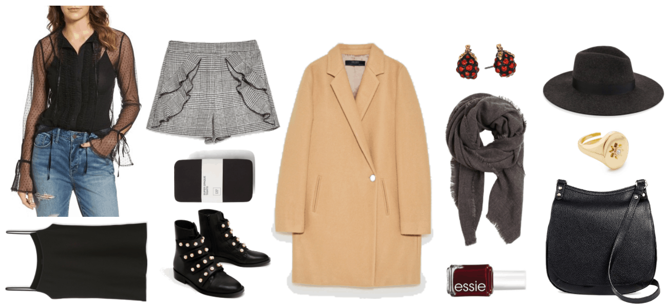 Fall shorts outfit for late fall and early winter. Outfit featuring sheer black long-sleeved blouse with dots, ruffled sleeves, and ties; black camisole, gray plaid shorts with ruffles with black trim, black opaque tights, black flat ankle boots with pearl embellishments and gold hardware, camel-colored double-breasted coat with single button, gold berry-shaped earrings with red stones, dark gray scarf with fringed edges, Essie Nail Polish in