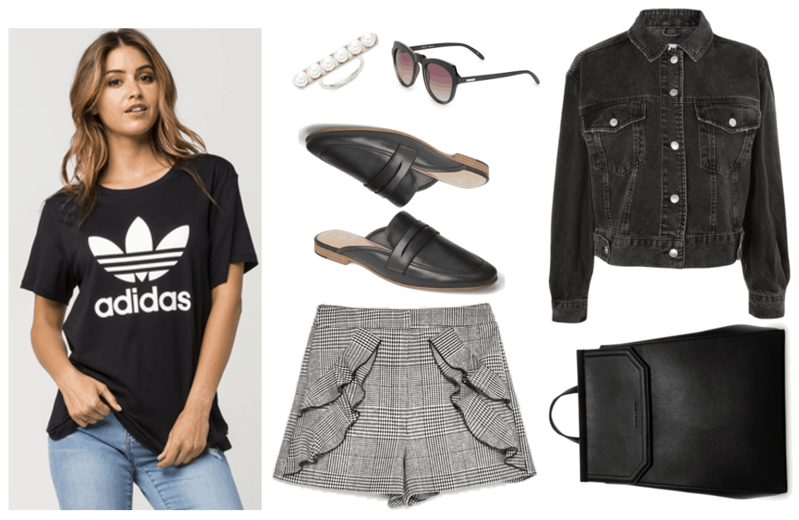 Fall shorts styled for late summer/early fall. Outfit featuring black oversized short-sleeved crewneck t-shirt with white