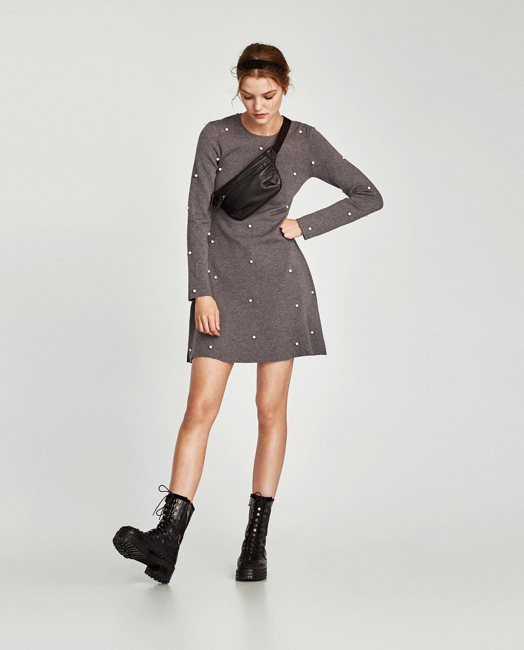 Photo of model standing against light gray background wearing medium-dark  gray heathered long- ae74b350e