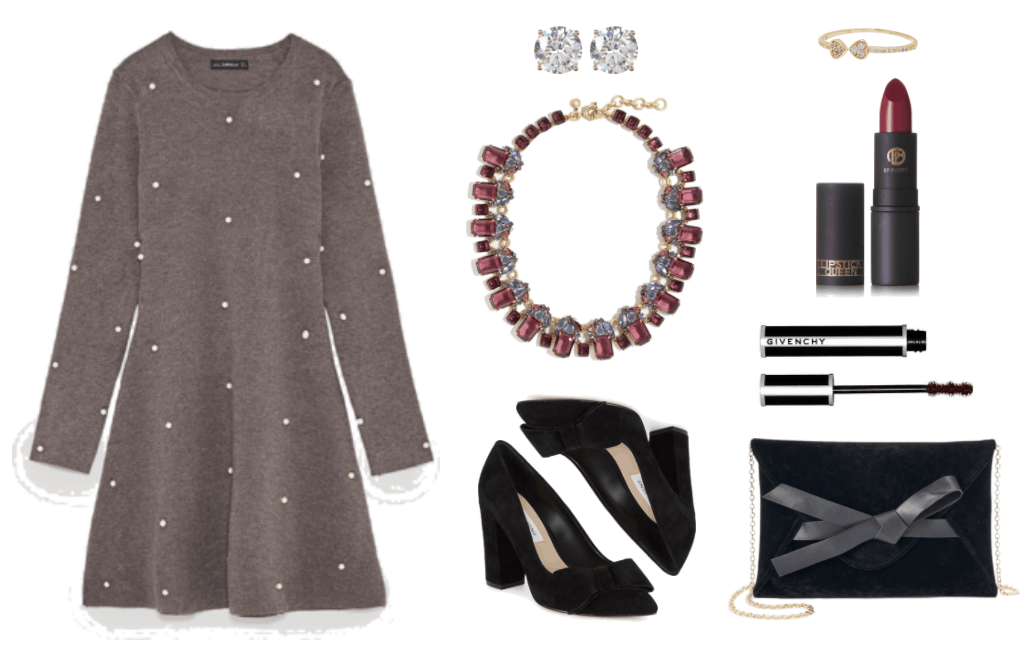 Medium-dark heather gray long-sleeved skater dress with white pearl embellishments, round clear stone stud earrings set in gold, statement necklace with mauve and periwinkle stones set in gold, black suede pointed-toe pumps with block heel and bow at toe, gold arrow wrap ring with clear stones, Lipstick Queen Sinner Lipstick in