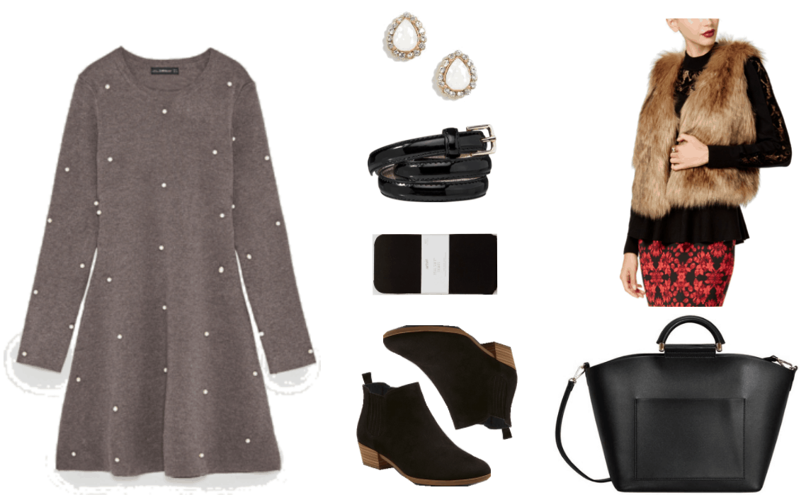 Medium-dark heather gray long-sleeved skater dress with white pearl embellishments, teardrop-shaped white fasceted iridescent stud earrings set in gold with surrounding pavé clear stones, thin black patent belt with silver buckle, black opaque tights, black Chelsea boots with wooden heel and sole, tan faux fur vest, black pebbled faux leather tote with faux-leather covered handle, front pocket, and cross-body strap