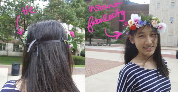 Wearing DIY Floral Crown