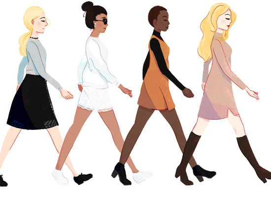 Wearing dresses in cool weather illustration by Stacey Abidi