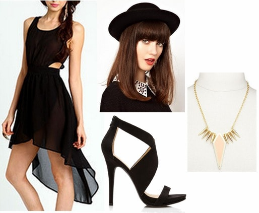 Wednesday outfit lbd, black heels, hat, statement necklace