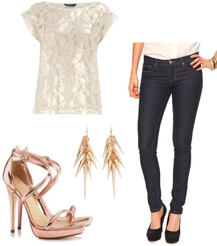 Weekend outfit 1: Karaoke with the girls - Lace top, skinny jeans, metallic heels, statement earrings
