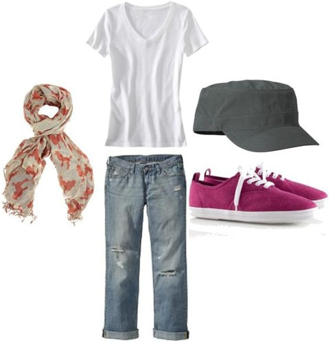 Weekend outfit 2: Saturday morning campus cleanup - Ripped jeans, basic v-neck tee, scarf, hat, magenta canvas sneakers