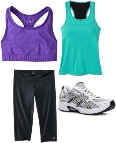 Weekend outfit 3: Kickboxing class - Running capris, purple sports bra, teal tank, sneakers