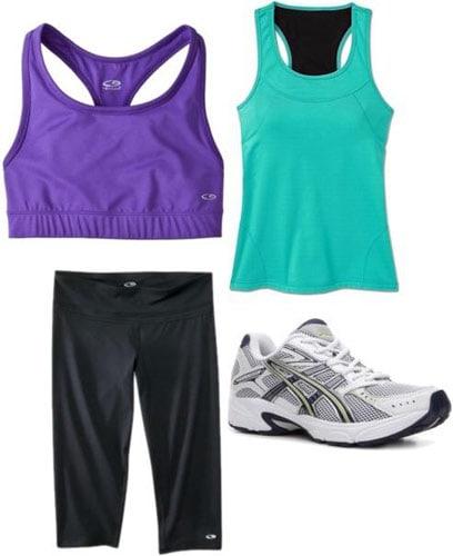 Weekend outfit 3: Kickboxing class - Running capris, purple sports bra, teal tank, sneakers