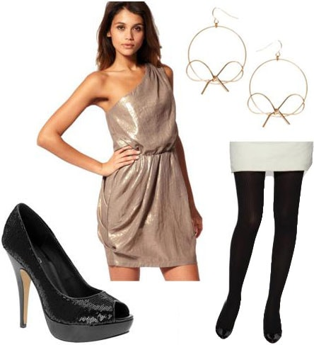 Weekend outfit 4: Saturday night formal - Metallic one-shoulder dress, opaque tights, bow earrings, shiny black heels