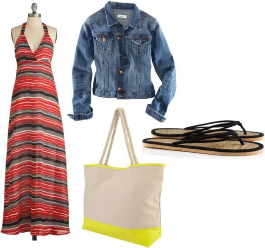 Weekend outfit 5: Study group - Striped maxi dress, denim jacket, neon yellow and beige tote bag, leather flip flops