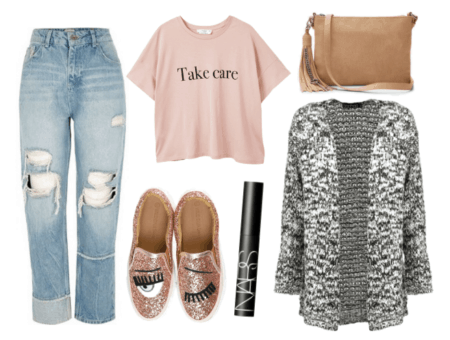 What to wear out with coworkers: Outfit for weekend team-building exercise with glitter flats, boyfriend jeans, marled cardigan, Take Care graphic tee shirt and fringe bag