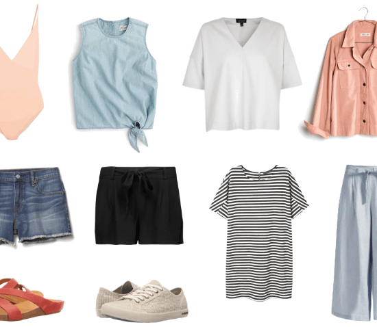 Packing list for a weekend trip -- beige one piece, denim shorts, chambray tie front top, button down shirt in pink, v-neck tee shirt, striped tee shirt dress, black shorts, sneakers, sandals, wide leg pants