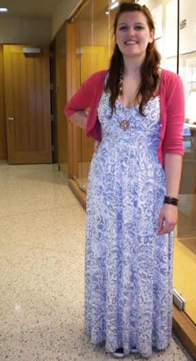 Fashionista in a maxi dress at Wesleyan University