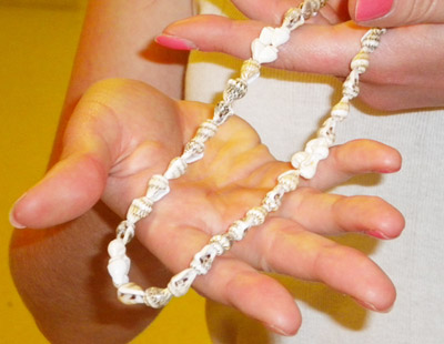 Shell necklace on a college fashionista at Wesleyan University