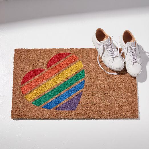 West Elm rainbow heart welcome mat.