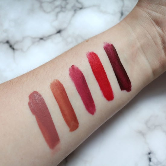 Wet n Wild catsuit swatches: Rebel Rose, Give Me Mocha, Berry Recognize, Missy and Fierce, Video Vixen
