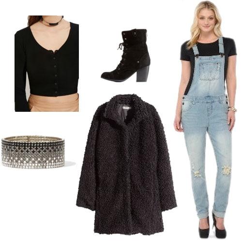 Outfit idea: Overalls, crop top, boots, fur coat