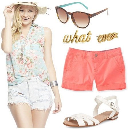 Wet seal floral blouse, coral shorts, white sandals