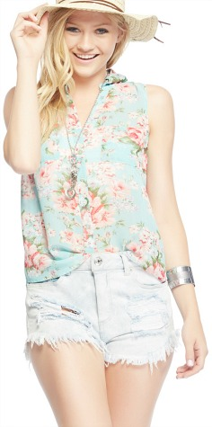 Wet seal floral button up tank