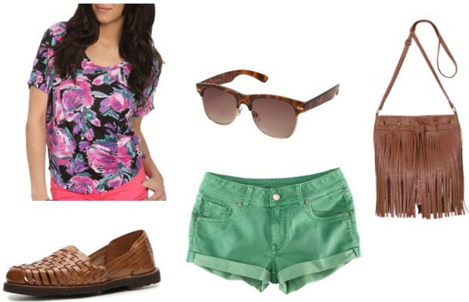 How to wear a floral tee shirt for day with green denim shorts, loafers, basic sunglasses and a cross-body bag
