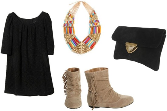 How to wear Wet Seal fringe boots with a black tee shirt dress, statement necklace, and clutch