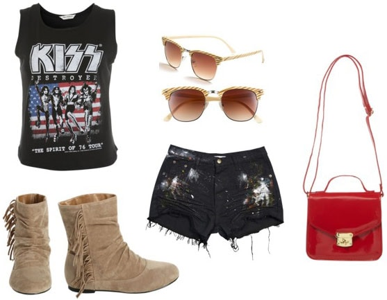 How to wear Wet Seal fringe boots with cutoff shorts, a music tee, a cross-body bag, and sunglasses