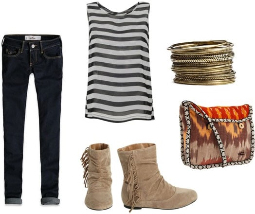 How to wear Wet Seal fringe boots with skinny jeans, a basic tank, a statement bag and bangles
