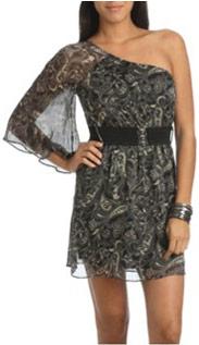 Wet Seal one-shoulder chiffon dress