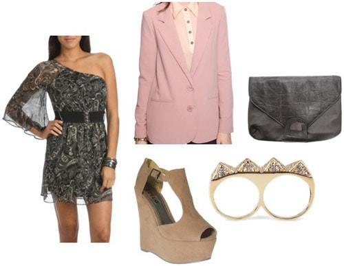 How to wear a one-shoulder dress from Wet Seal with a pink blazer and wedges for a night out