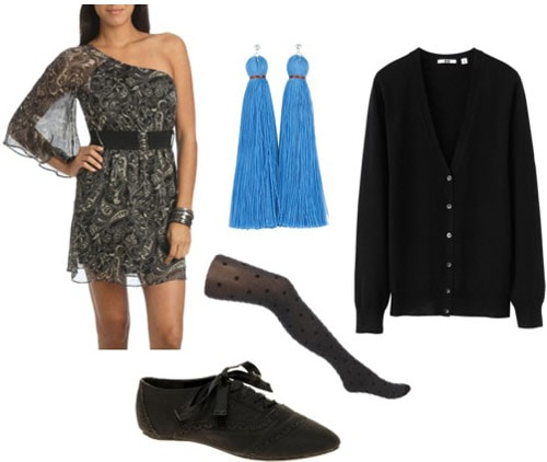 How to wear a one-shoulder dress from Wet Seal with a cardigan, oxfords and tights for a casual look