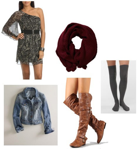 How to wear a one-shoulder dress from Wet Seal with a jean jacket and boots for day