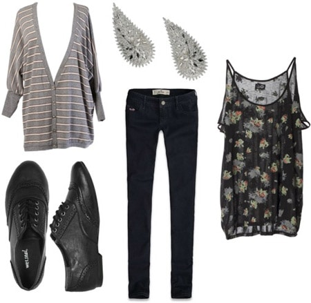 Wet Seal oxfords worn with skinny jeans, a printed tank and cardigan