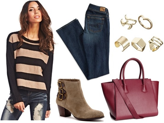 Wet seal striped sweater, bootcut jeans, ankle boots