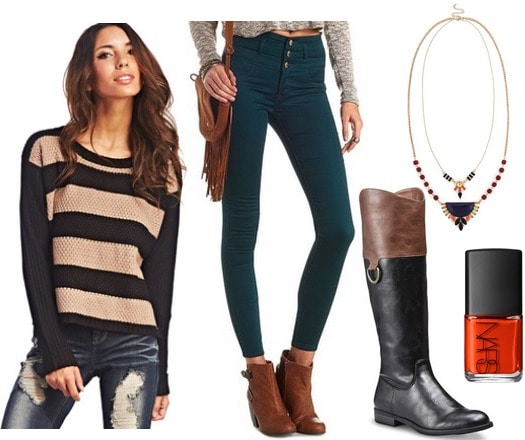 Wet seal striped sweater, colored skinnies, riding boots