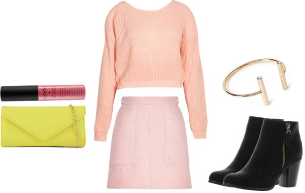Wham outfit 3 - pastel pink sweater and skirt, neon accessories, black boots