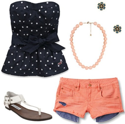 Outfit inspired by One Direction's What Makes You Beautiful video: Peach shorts, polka dot strapless top, necklace, white sandals, flower earrings