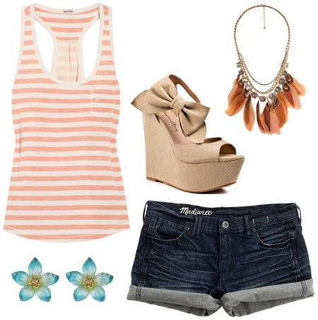 Outfit inspired by One Direction's What Makes You Beautiful video: Coral and white striped tank, denim cutoffs, bow wedges, statement necklace