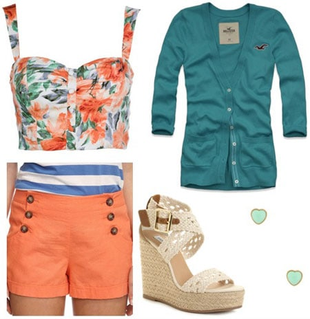 Outfit inspired by One Direction's What Makes You Beautiful video: Orange shorts with buttons, floral crop top, button-down cardigan, espadrille wedges