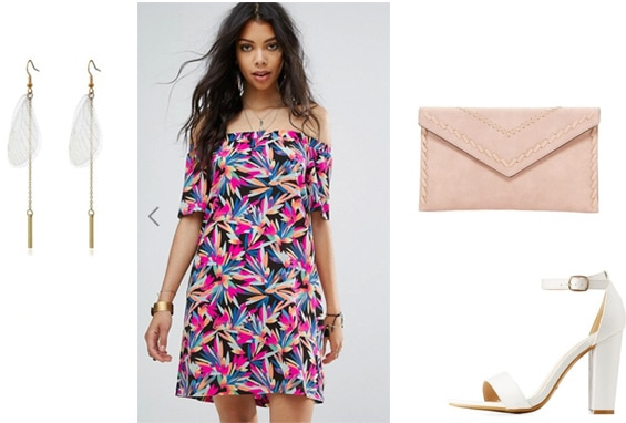 What not to wear with tattoos: Brightly colored dress outfit with bold pattern