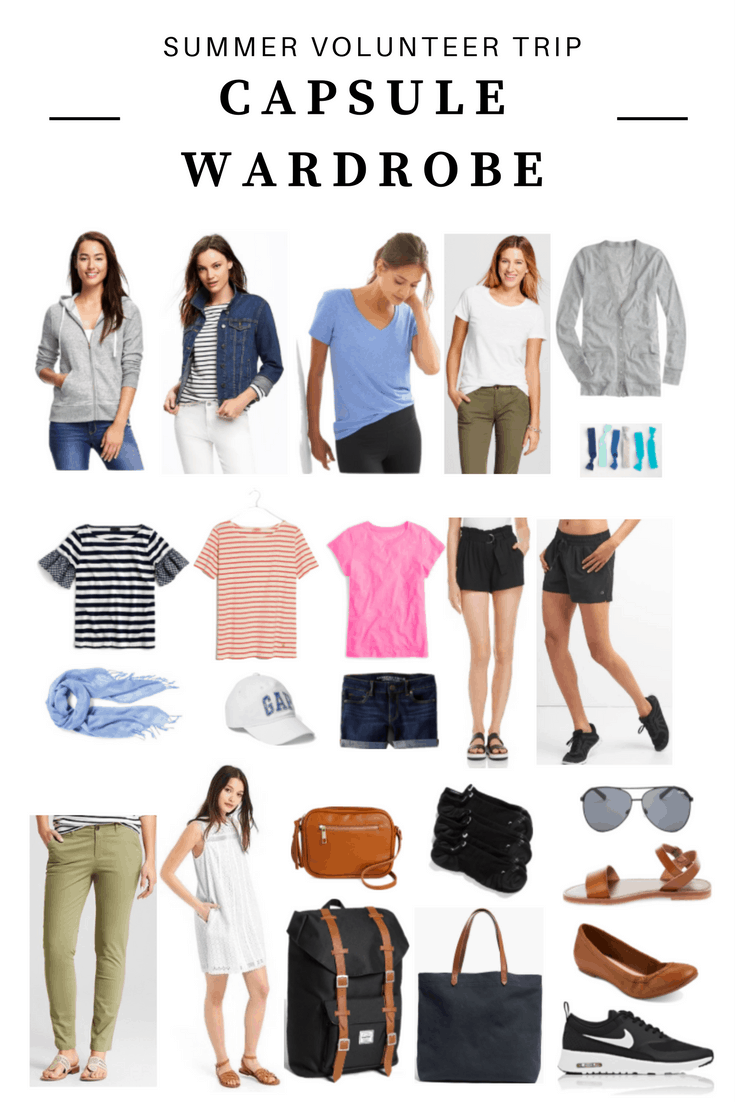 What to pack for a summer volunteer trip: Capsule wardrobe packing list for warm weather -- includes outfits for hiking, working in an orphanage, tourist activities in South America and third world countries, comfortable shoes