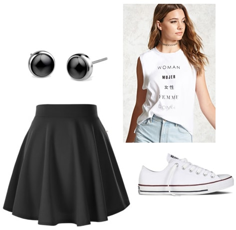 What to Wear with Tattoos: Outfit idea with basic black skirt, converse, tank, black earrings