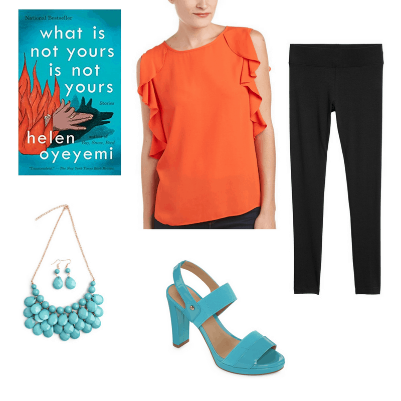 An outfit for the book What Is Not Yours Is Not Yours with an orange top, black leggings, turquoise jewelry, and turquoise heels.