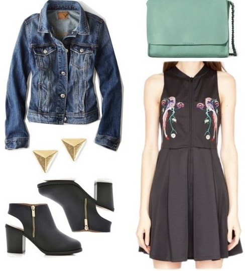 Neoprene LBD, denim jacket, and heeled boots