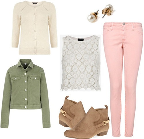Fashion Inspired by Where the Sidewalk Ends: Pastel jeans, lace top, green jacket, ankle booties