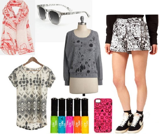 Fashion Inspired by Where the Sidewalk Ends: Patterned ensemble with bright extras
