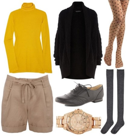 Whit Fall 2011 outfit 2 - yellow turtleneck, black sweater, khaki shorts, patterned tights, knee-high grey socks, oxfords