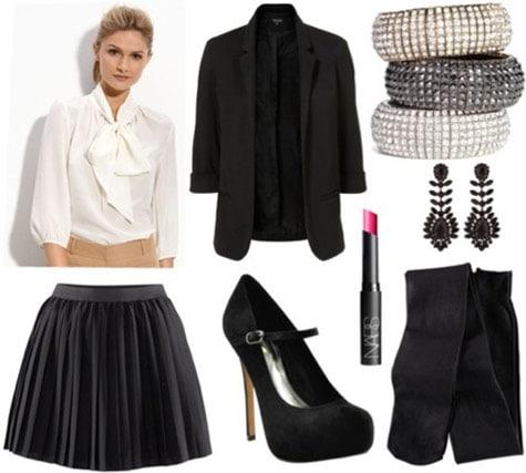 Whit Fall 2011 outfit 3 - Black flounce skirt, white button-down shirt, black blazer, black mary-jane pumps, opaque tights, earrings, bracelets, lipstick